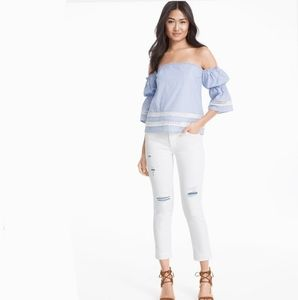WHBM White Chambray Distressed Jeans